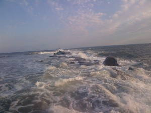 rough seas at breezy point new york