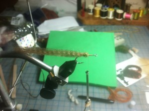 Fly Tying Step 4 - add golden brown dubbing