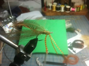 Fly Tying Step 7 - dub behind, between and in front of legs